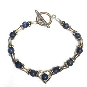 Blue and Silver Beaded Sweetheart Bracelet